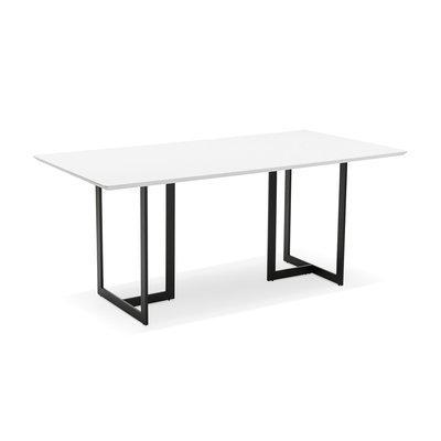 Bureau 180x90x76 cm avec plateau blanc et pieds noir - THALIE