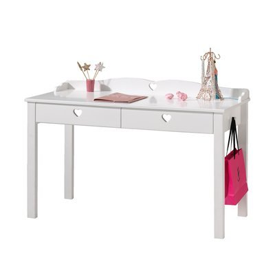Bureau 2 tiroirs 130x60x84,5 cm en pin blanc  - AMORENA