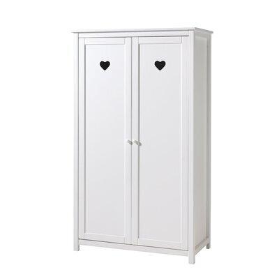 Armoire 2 portes 110x57x190,5 cm en pin blanc - AMORENA
