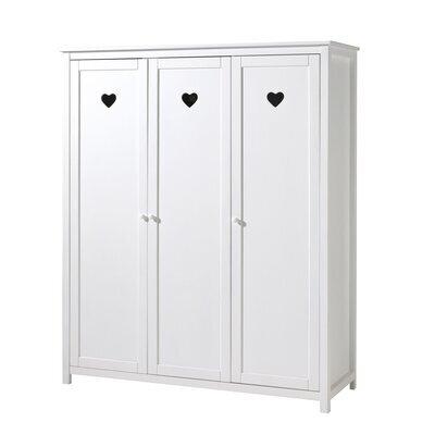 Armoire 3 portes 159x57x190,5 cm en pin blanc - AMORENA