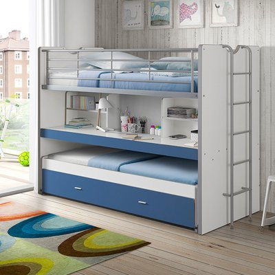 Lits superposés 3 couchages 90x200 cm blanc et bleu - ASSIA