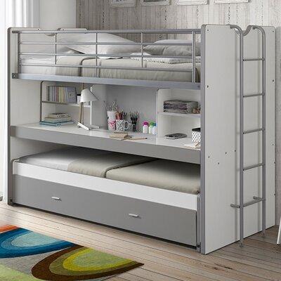 Lits superposés 3 couchages 90x200 cm blanc et gris - ASSIA