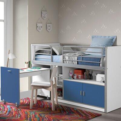 Lit combiné 90x200 cm avec bureau et rangements bleu - ASSIA