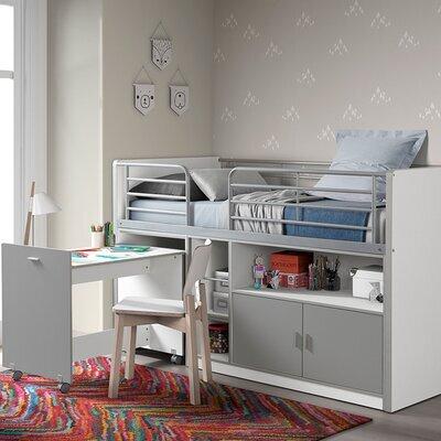 Lit combiné 90x200 cm avec bureau et rangements gris - ASSIA