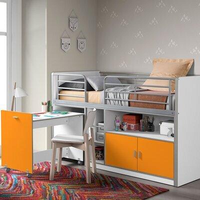 Lit combiné 90x200 cm avec bureau et rangements orange - ASSIA