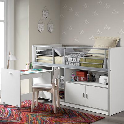 Lit combiné 90x200 cm avec bureau et rangements blanc - ASSIA