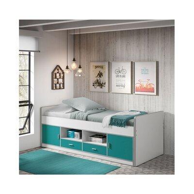 Lit 90x200 cm avec rangements turquoise - ASSIA