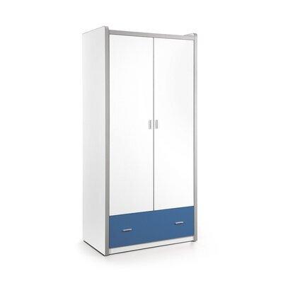 Armoire 2 portes et 1 tiroir 96,5x60x202 cm bleu - ASSIA