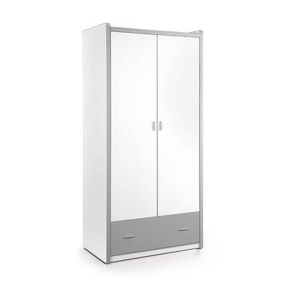 Armoire 2 portes et 1 tiroir 96,5x60x202 cm gris - ASSIA