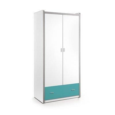 Armoire 2 portes et 1 tiroir 96,5x60x202 cm turquoise - ASSIA