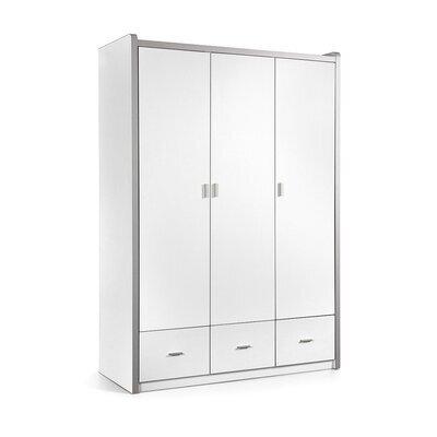 Armoire 3 portes 140,5x60x202 cm blanc - ASSIA