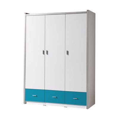 Armoire 3 portes 140,5x60x202 cm turquoise - ASSIA