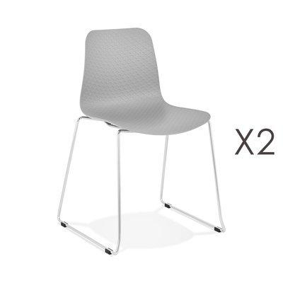 Lot de 2 chaises repas 55x50x82,5 cm gris - LAYNA