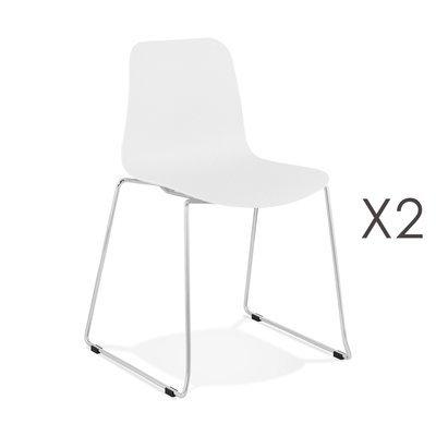 Lot de 2 chaises repas 55x50x82,5 cm blanc - LAYNA