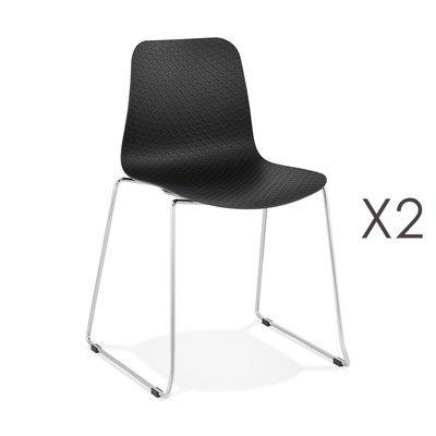 Lot de 2 chaises repas 55x50x82,5 cm noir - LAYNA