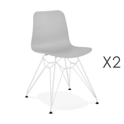 Lot de 2 chaises repas grises et pieds blancs - FANIE