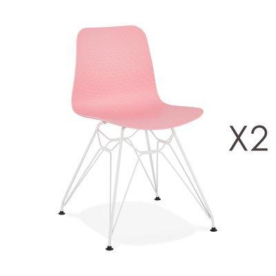 Lot de 2 chaises repas roses et pieds blancs - FANIE