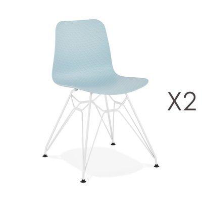 Lot de 2 chaises repas bleues et pieds blancs - FANIE