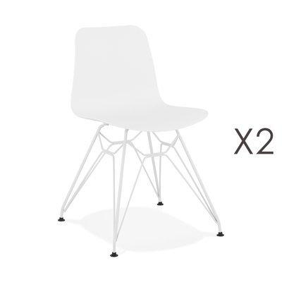 Lot de 2 chaises repas blanches et pieds blancs - FANIE