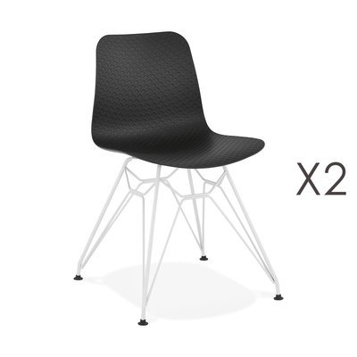Lot de 2 chaises repas noires et pieds blancs - FANIE