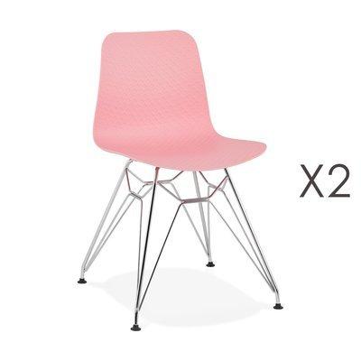 Lot de 2 chaises repas roses et pieds chromé - FANIE