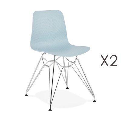 Lot de 2 chaises repas bleues et pieds chromé - FANIE