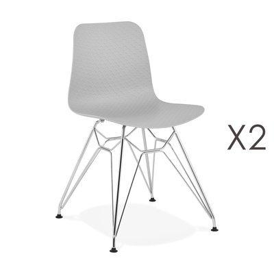 Lot de 2 chaises repas grises et pieds chromé - FANIE