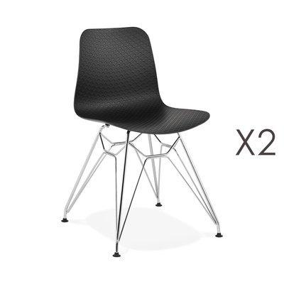 Lot de 2 chaises repas noires et pieds chromé - FANIE