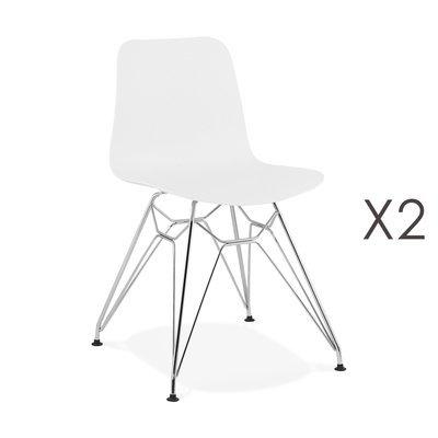 Lot de 2 chaises repas blanches et pieds chromé - FANIE