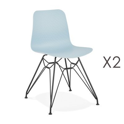 Lot de 2 chaises repas bleues et pieds noirs - FANIE