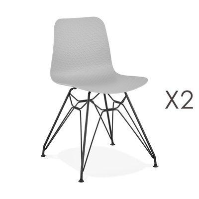 Lot de 2 chaises repas grises et pieds noirs - FANIE