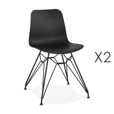 Lot de 2 chaises repas noires et pieds noirs - FANIE
