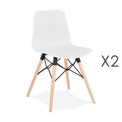 Lot de 2 chaises repas blanches et pieds naturel - YAREN