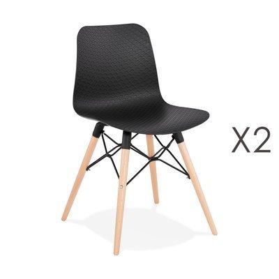 Lot de 2 chaises repas noires et pieds naturel - YAREN