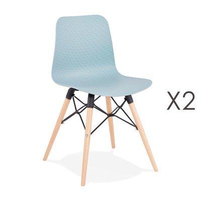 Lot de 2 chaises repas bleues et pieds naturel - YAREN