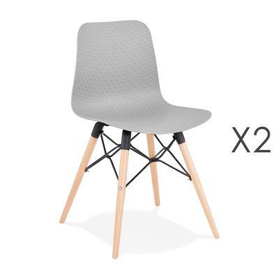 Lot de 2 chaises repas grises et pieds naturel - YAREN