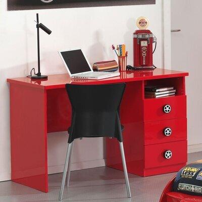 Bureau 3 tiroirs 120x60x74,5 cm rouge - FIRE