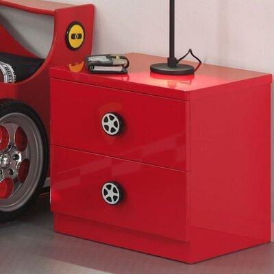 Chevet 2 tiroirs 50x16x43 cm rouge - FIRE