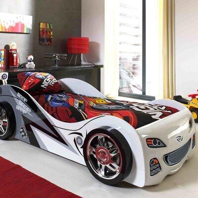 Lit voiture 90x200 cm gris et blanc - CARINO