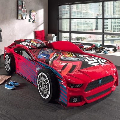 Lit voiture panthere 90x200 cm + matelas rouge - CARINO