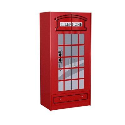 Armoire cabine téléphonique  90x56x190 cm rouge - CARINO