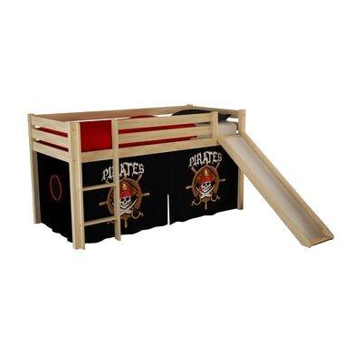 Lit surélevé 90x200 cm avec toboggan naturel décor pirates - PINO