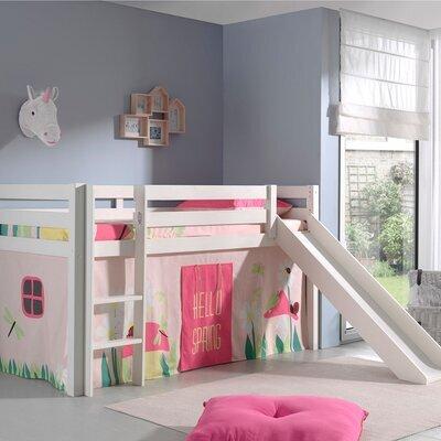 Lit surélevé 90x200 cm avec toboggan blanc décor nature rose - PINO