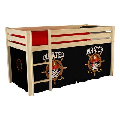 Lit surélevé 90x200 cm avec échelle naturel décor pirates - PINO