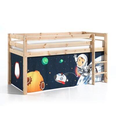 Lit surélevé 90x200 cm avec échelle naturel décor astronaute - PINO