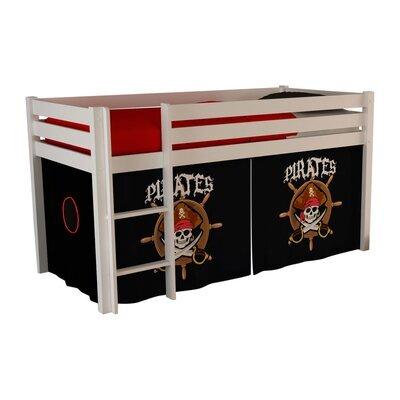 Lit surélevé 90x200 cm avec échelle blanc décor pirates - PINO