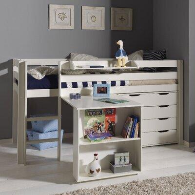Lit surélevé + bureau + commode 4 tiroirs + étagère blanc - PINO