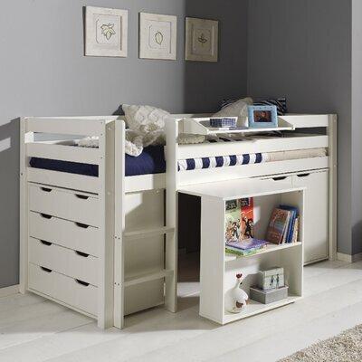Lit surélevé + bureau + 2 commodes + étagère blanc - PINO
