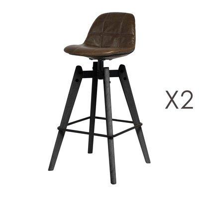 Lot de 2 chaises de bar aspect cuir et métal - ATELIER METAL