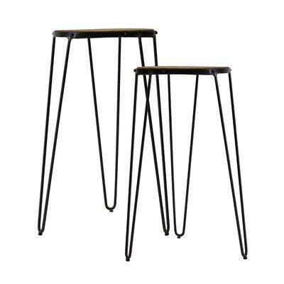 Set de deux bout de canapé en bois et métal noir - MELODIE